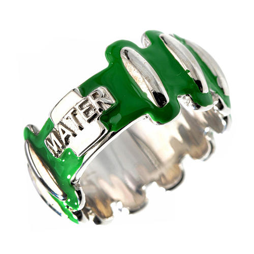 Rosary ring in silver 925 with green enamel, MATER 1