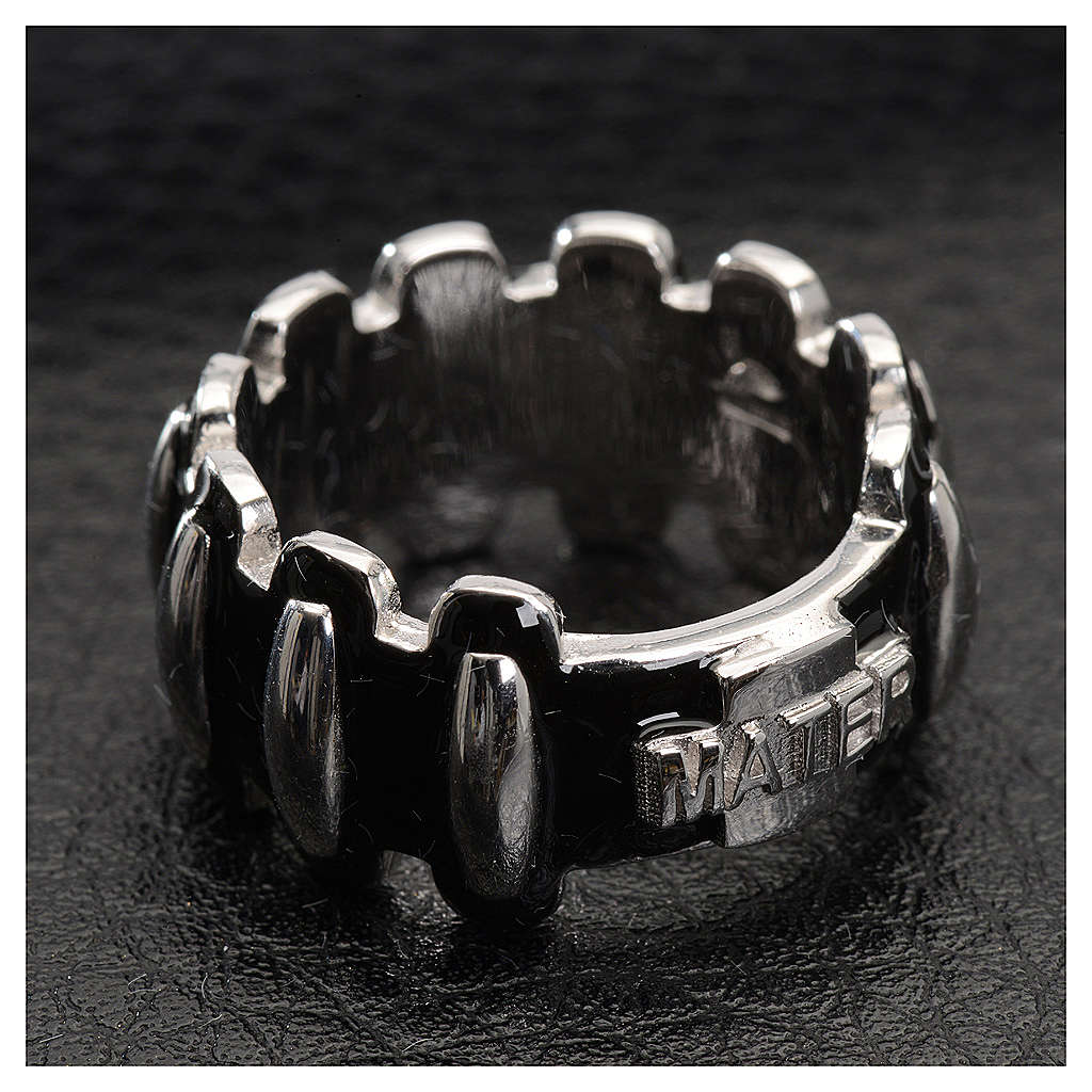 Rosary ring in silver 925 with black enamel, MATER 3