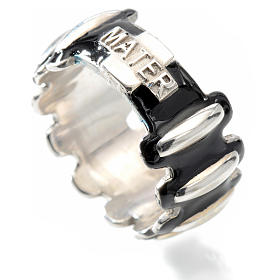 Rosary ring in silver 925 with black enamel, MATER s3