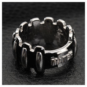 Rosary ring in silver 925 with black enamel, MATER s4