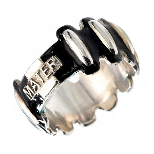Rosary ring in silver 925 with black enamel, MATER 1