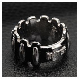 Anello rosario MATER argento 925 smaltato nero s4