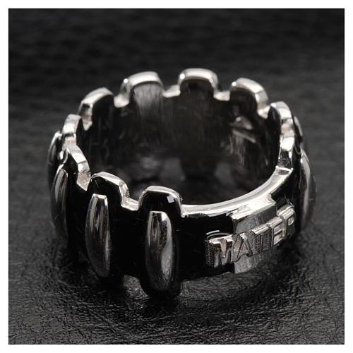 Anello rosario MATER argento 925 smaltato nero 4