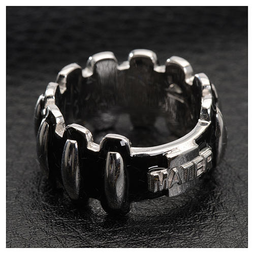 Anello rosario MATER argento 925 smaltato nero 2