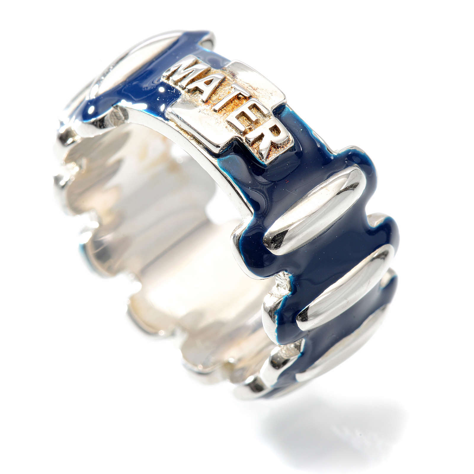 Rosary ring in silver 925 with blue enamel, MATER 3