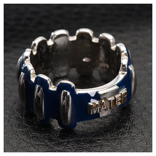 Rosary ring in silver 925 with blue enamel, MATER 2