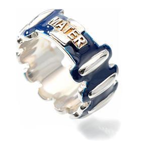 Anello rosario MATER argento 925 smaltato blu s3