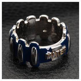 Anello rosario MATER argento 925 smaltato blu s4