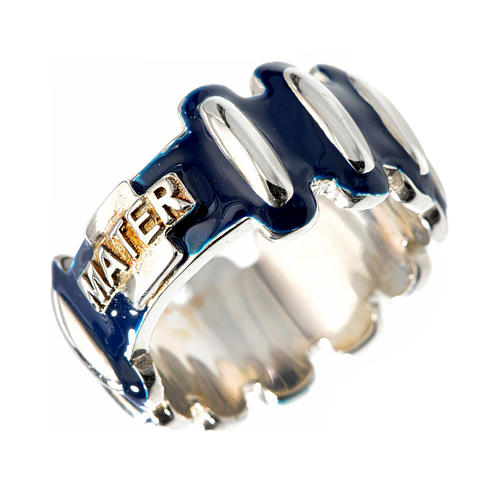 Rosary ring in silver 925 with blue enamel, MATER 1