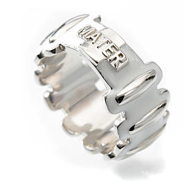 Rosary ring in silver 925 with whited enamel, MATER s3