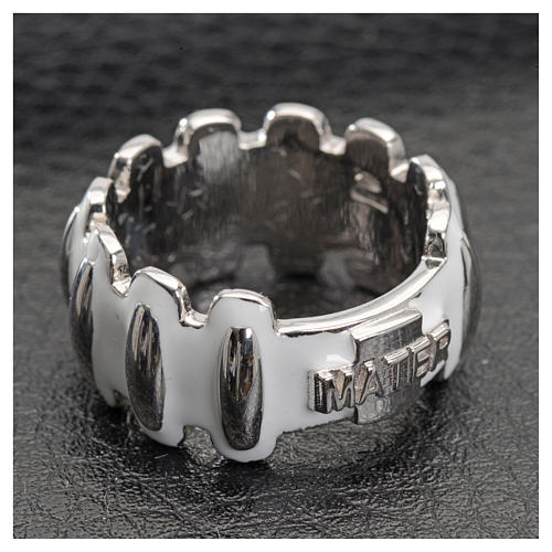Rosary ring in silver 925 with whited enamel, MATER 4