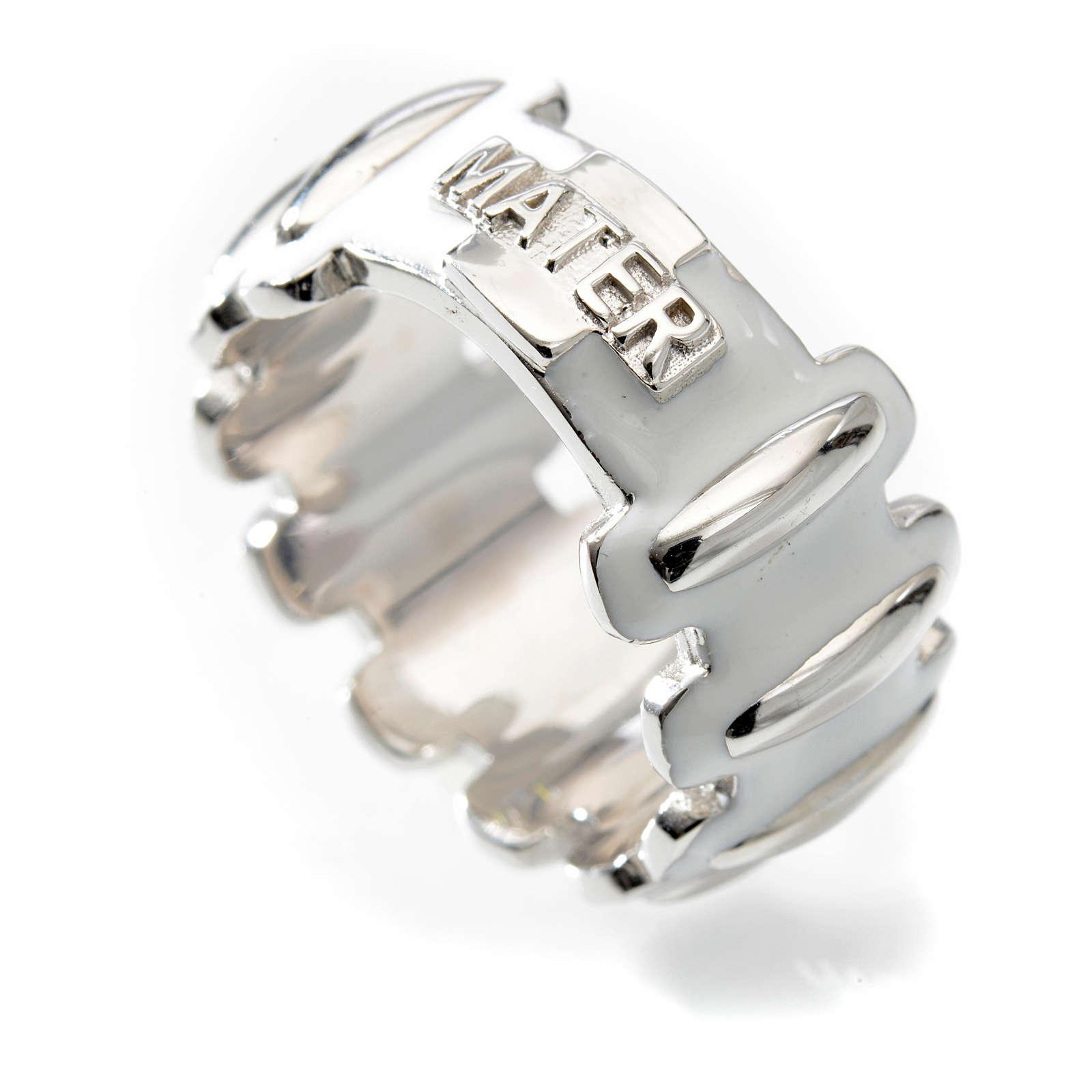 Anello rosario MATER argento 925 smaltato bianco 3