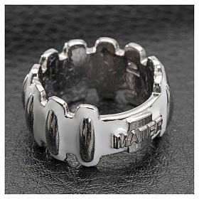 Anello rosario MATER argento 925 smaltato bianco s4