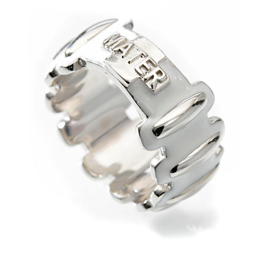 Rosary ring in silver 925 with whited enamel, MATER 3