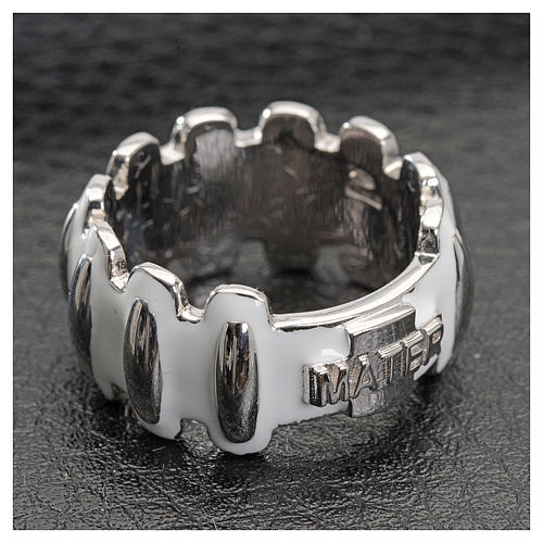 Rosary ring in silver 925 with whited enamel, MATER 2