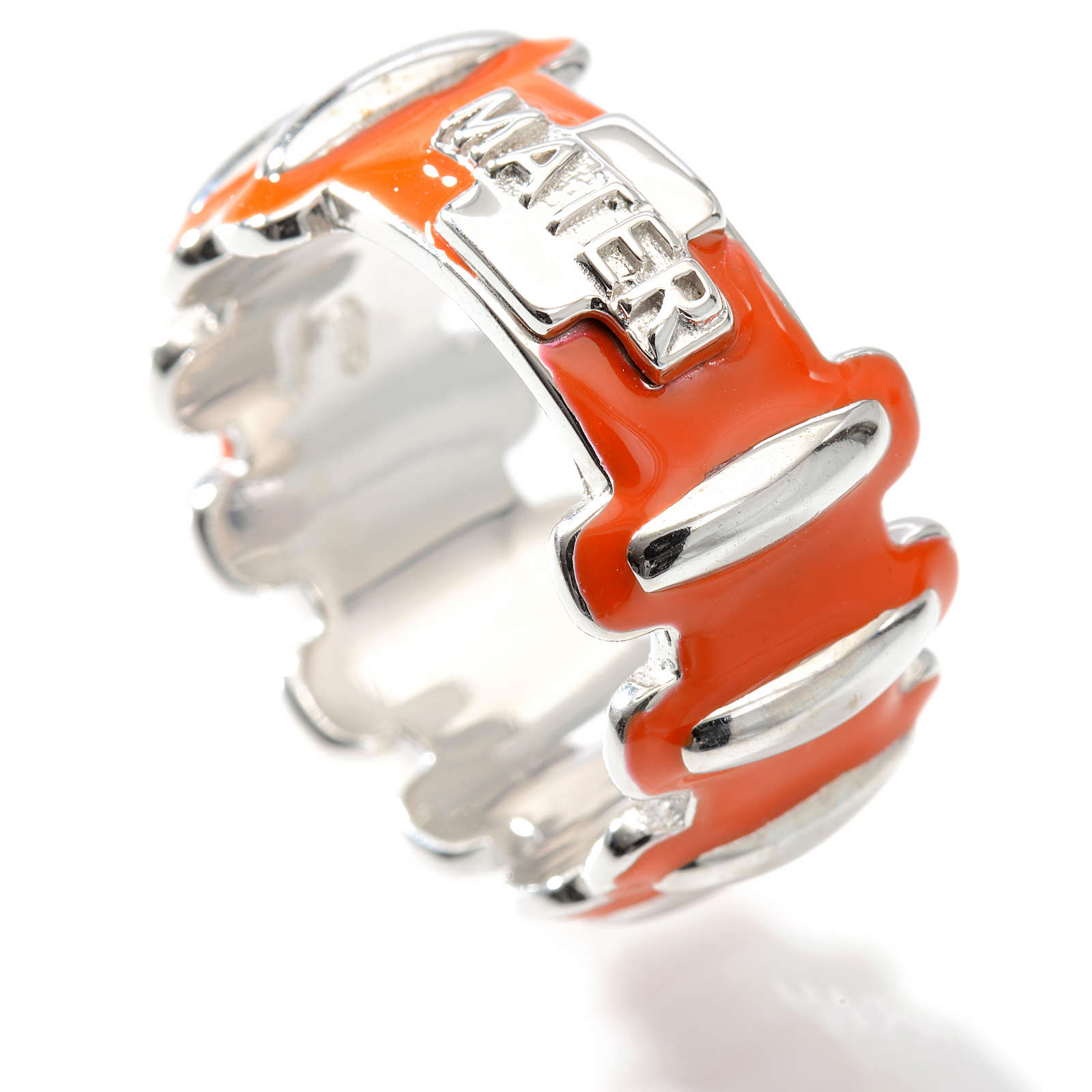 Rosary ring in silver 925 with orange enamel, MATER 3