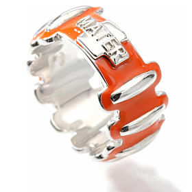 Rosary ring in silver 925 with orange enamel, MATER s3