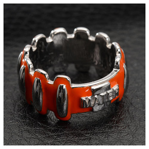 Rosary ring in silver 925 with orange enamel, MATER 4