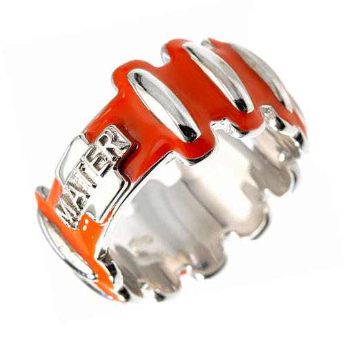 Rosary ring in silver 925 with orange enamel, MATER 1