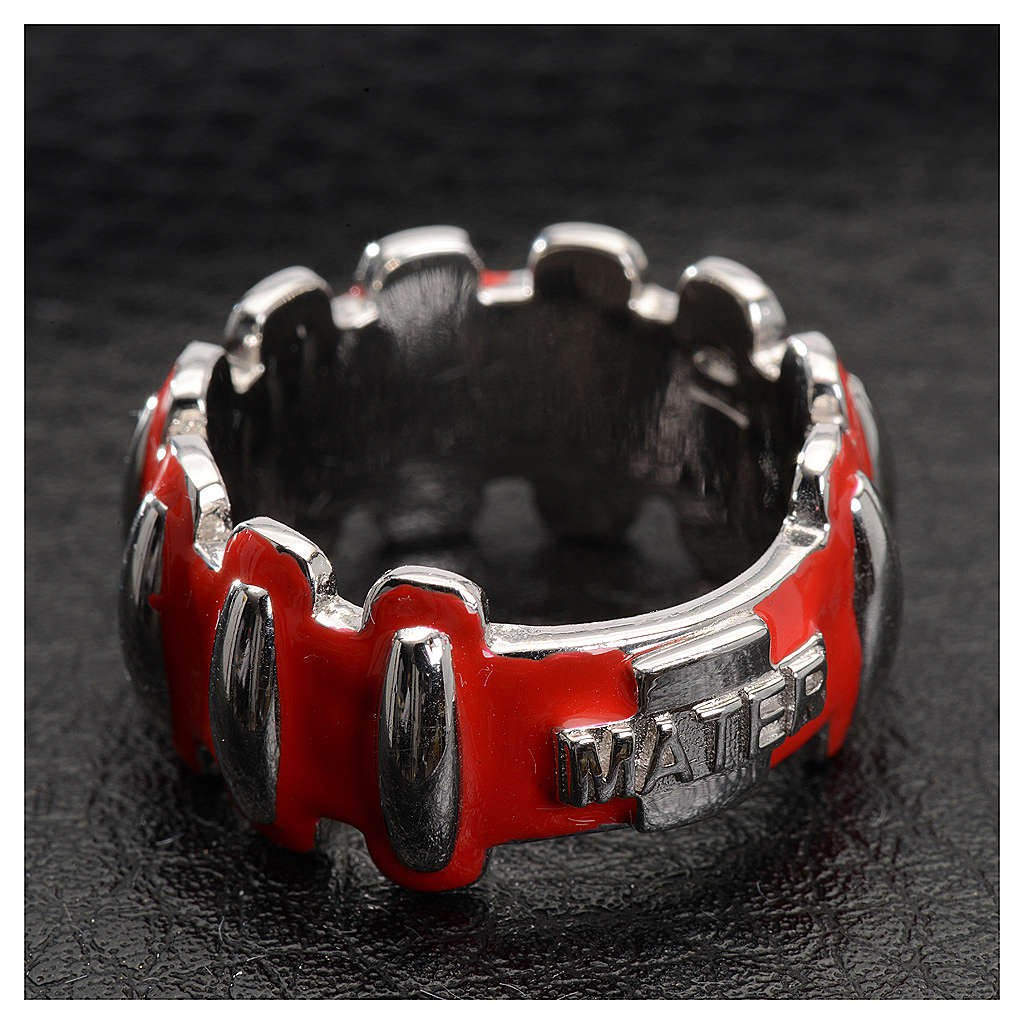 Rosary ring in silver 925 with red enamel, MATER 3