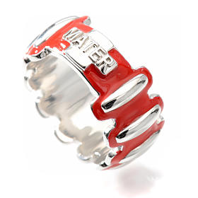 Rosary ring in silver 925 with red enamel, MATER s3