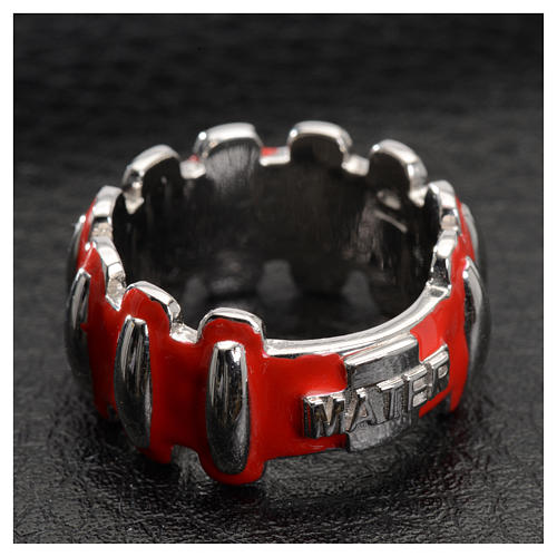 Rosary ring in silver 925 with red enamel, MATER 4