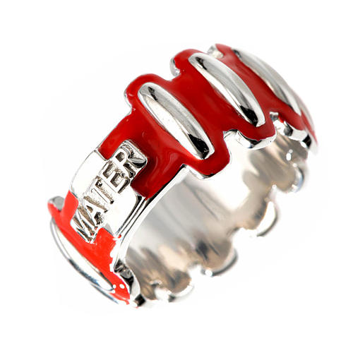 Rosary ring in silver 925 with red enamel, MATER 1