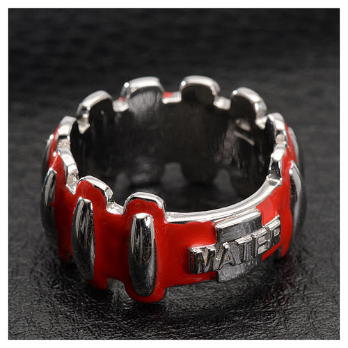 Rosary ring in silver 925 with red enamel, MATER 2