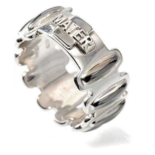 Rosary ring in burnished silver 925, MATER 3