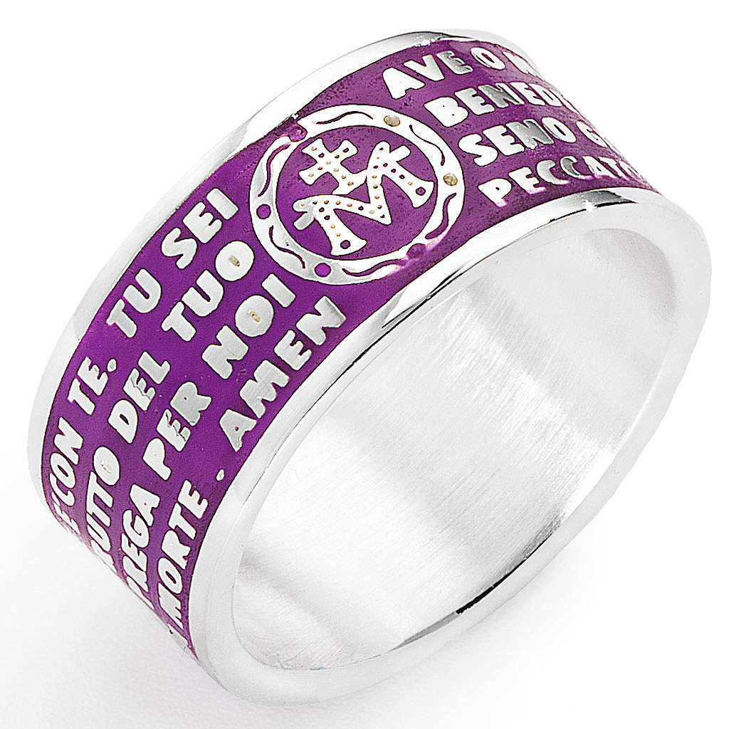 Prayer ring AMEN, Hail Mary, in purple enamel 3