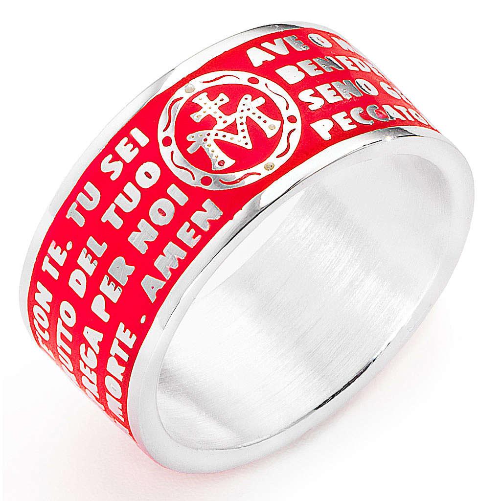 Prayer ring AMEN, Hail Mary, in red enamel 3