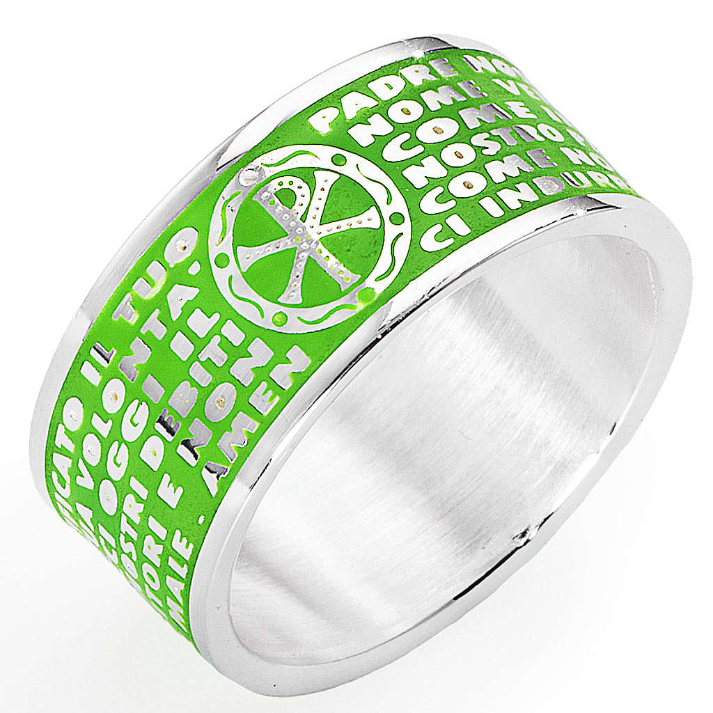 Prayer ring AMEN, Our Father, in green enamel 3