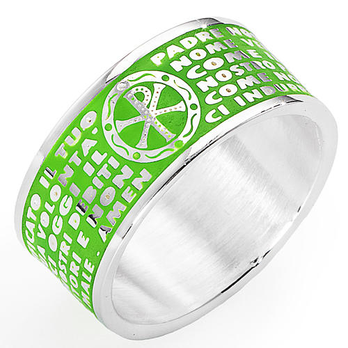 Prayer ring AMEN, Our Father, in green enamel 1