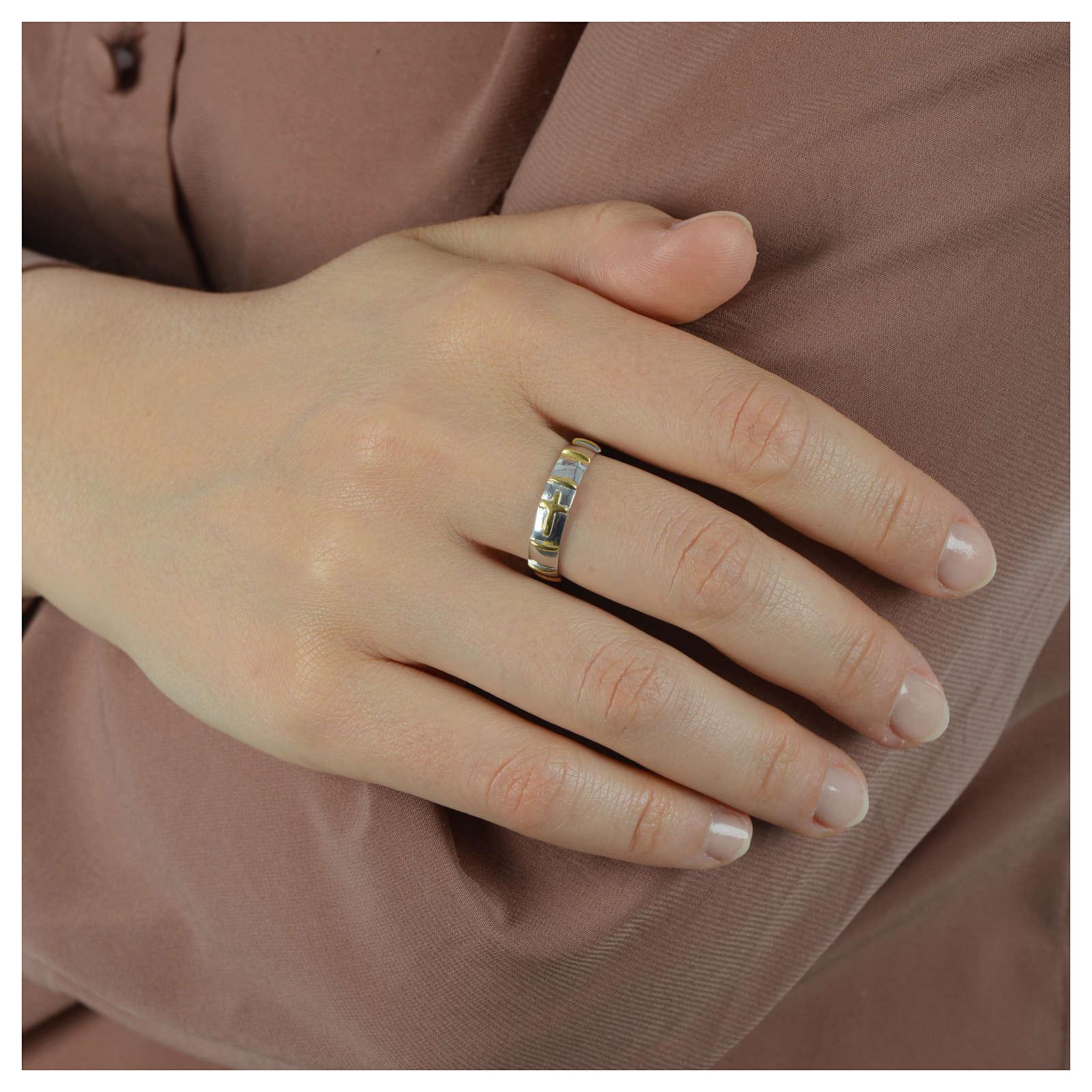 Anello argento 925 decine dorate 3