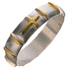 Anello argento 925 decine dorate s1