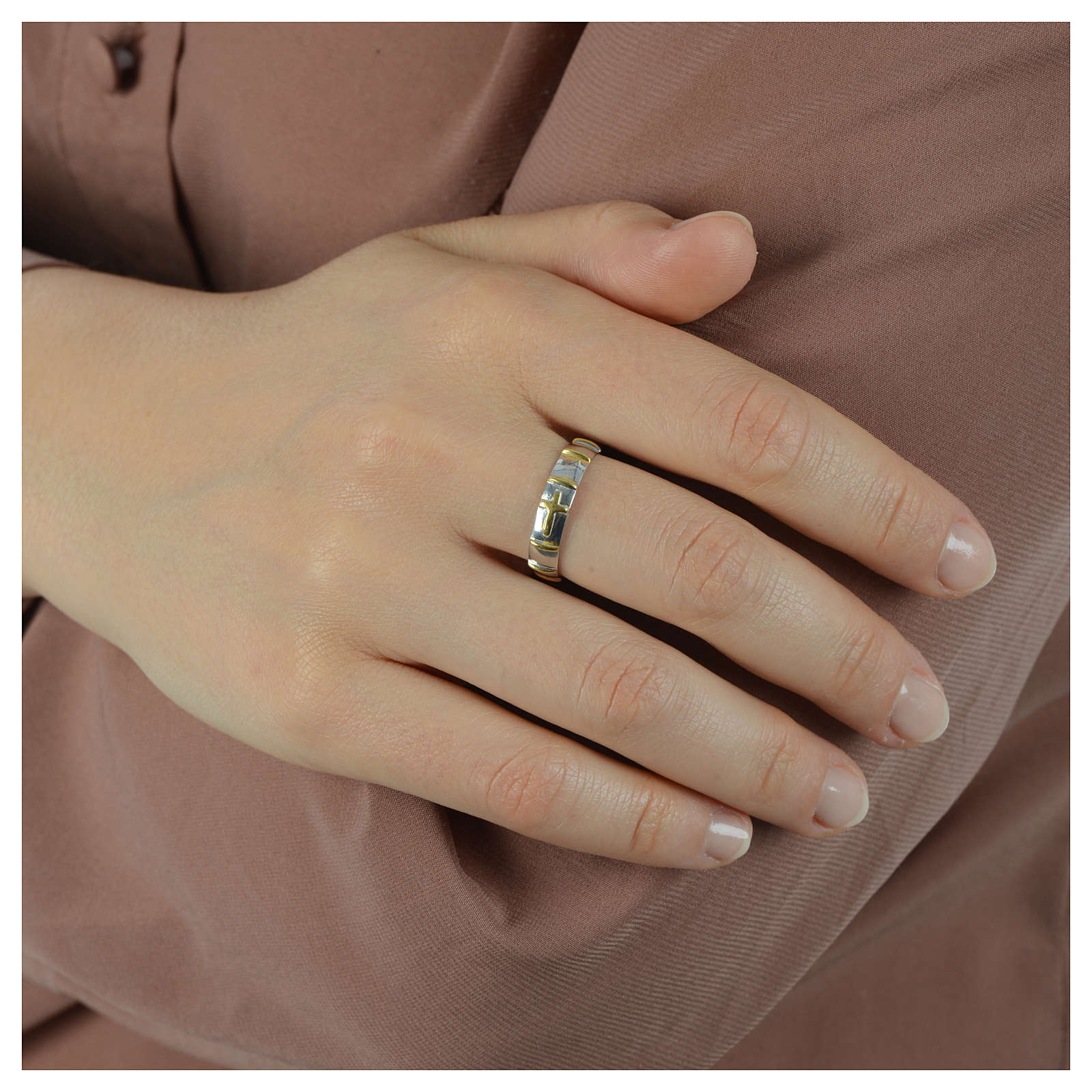 Prayer ring in 925 silver with golden decades 3