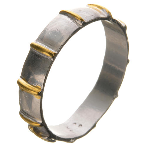 Prayer ring in 925 silver with golden decades 2
