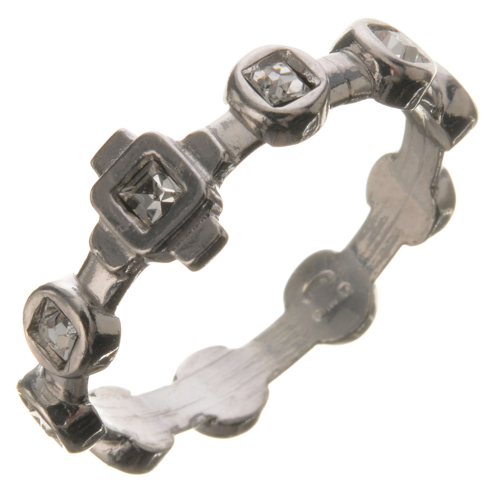 Anello decina argento 925 Swarovski trasparenti 3