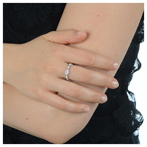 Single-decade ring in 800 silver and transparent Swarovski 4