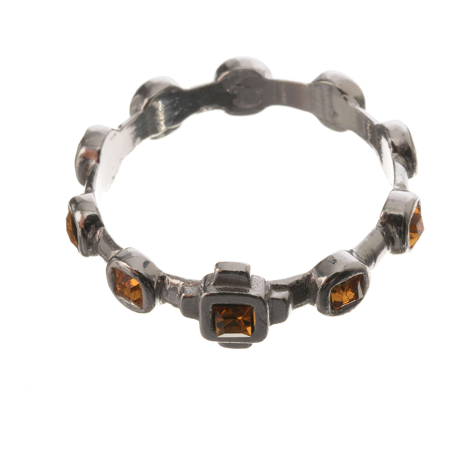 Single-decade ring in 800 silver and yellow Swarovski 3