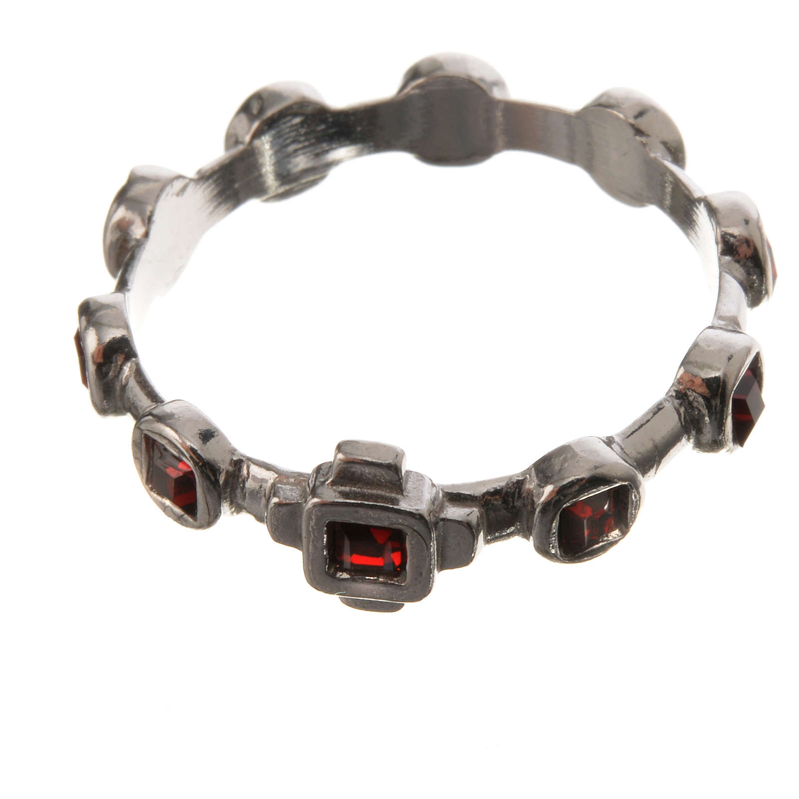 Single-decade ring in 800 silver and red Swarovski 3