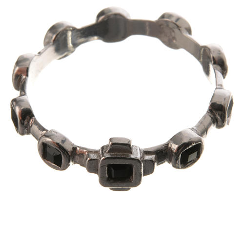 Anello decina argento 800 Swarovski neri 2