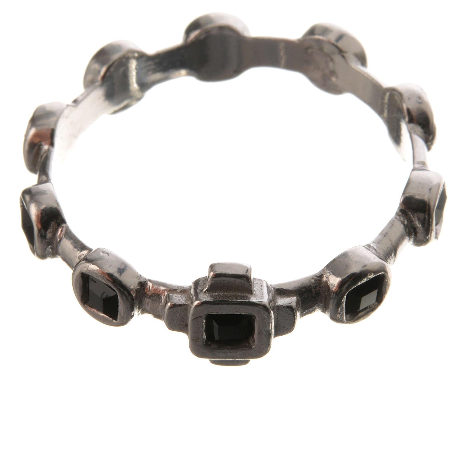 Single-decade ring in 800 silver and black Swarovski 3