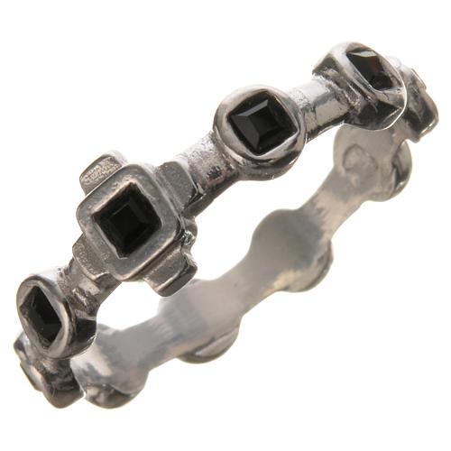 Single-decade ring in 800 silver and black Swarovski 1