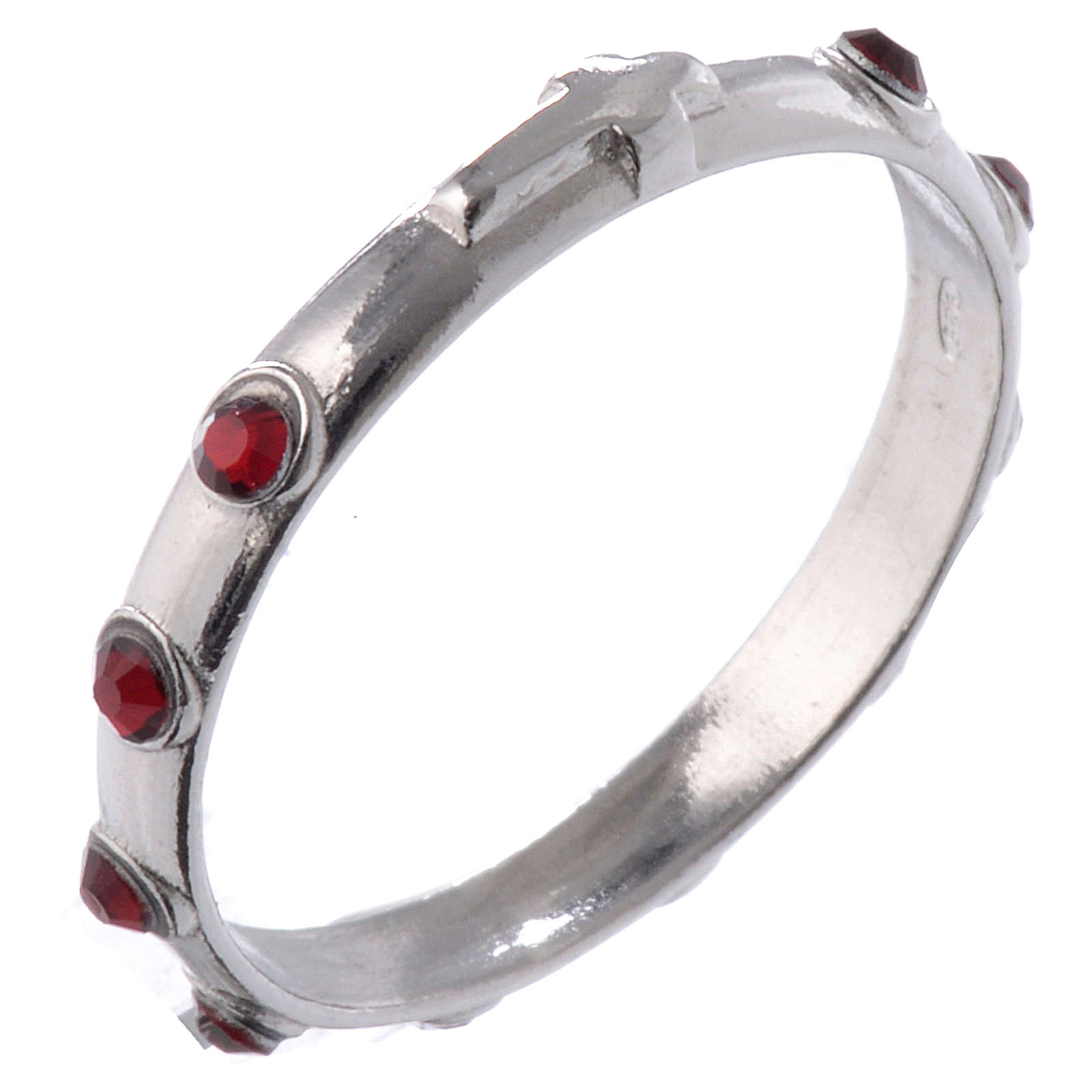 Single-decade ring in 925 silver and red Swarovski crystals 3