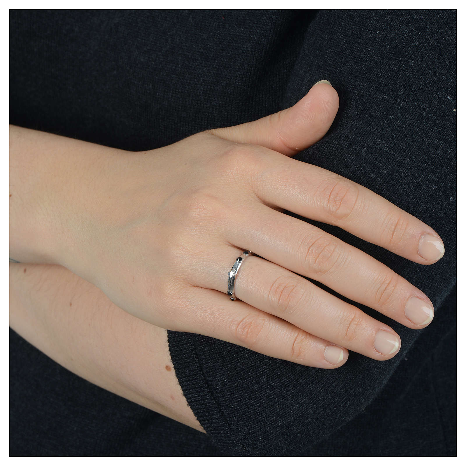 Single-decade ring in 925 silver and black Swarovski crystals 3