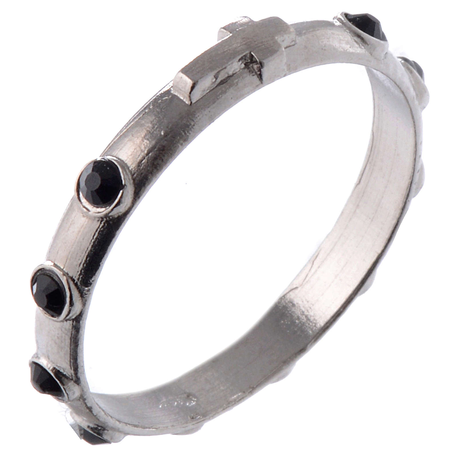 Single-decade ring in 925 silver and black Swarovski crystals 3
