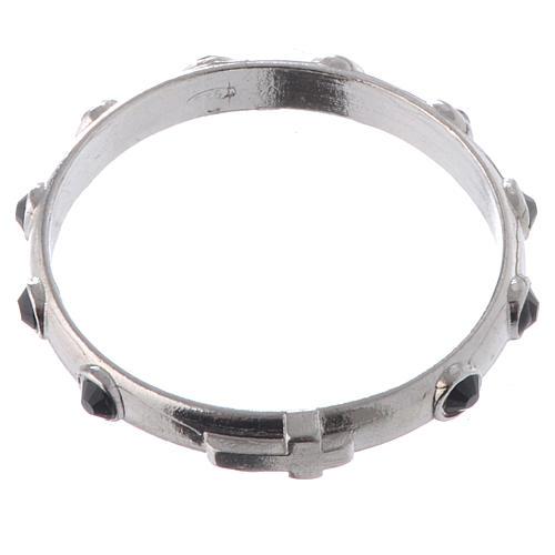 Single-decade ring in 925 silver and black Swarovski crystals 2
