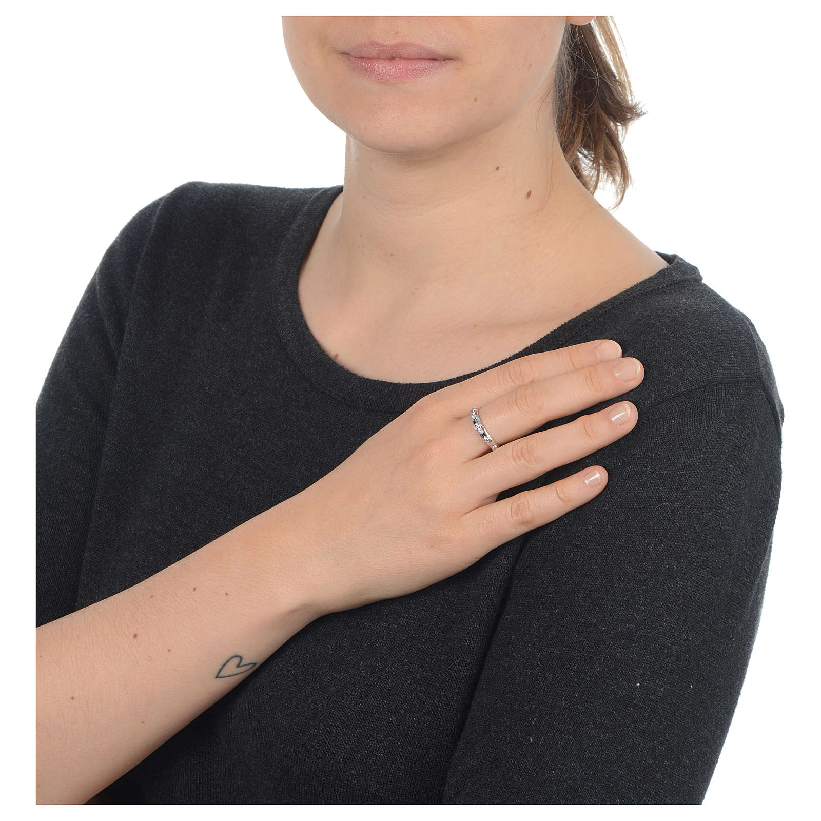 Rosary Ring AMEN rhodium-plated silver 925, white zircons 3