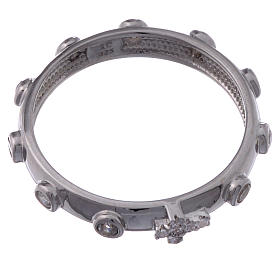 Rosary Ring AMEN rhodium-plated silver 925, white zircons s2